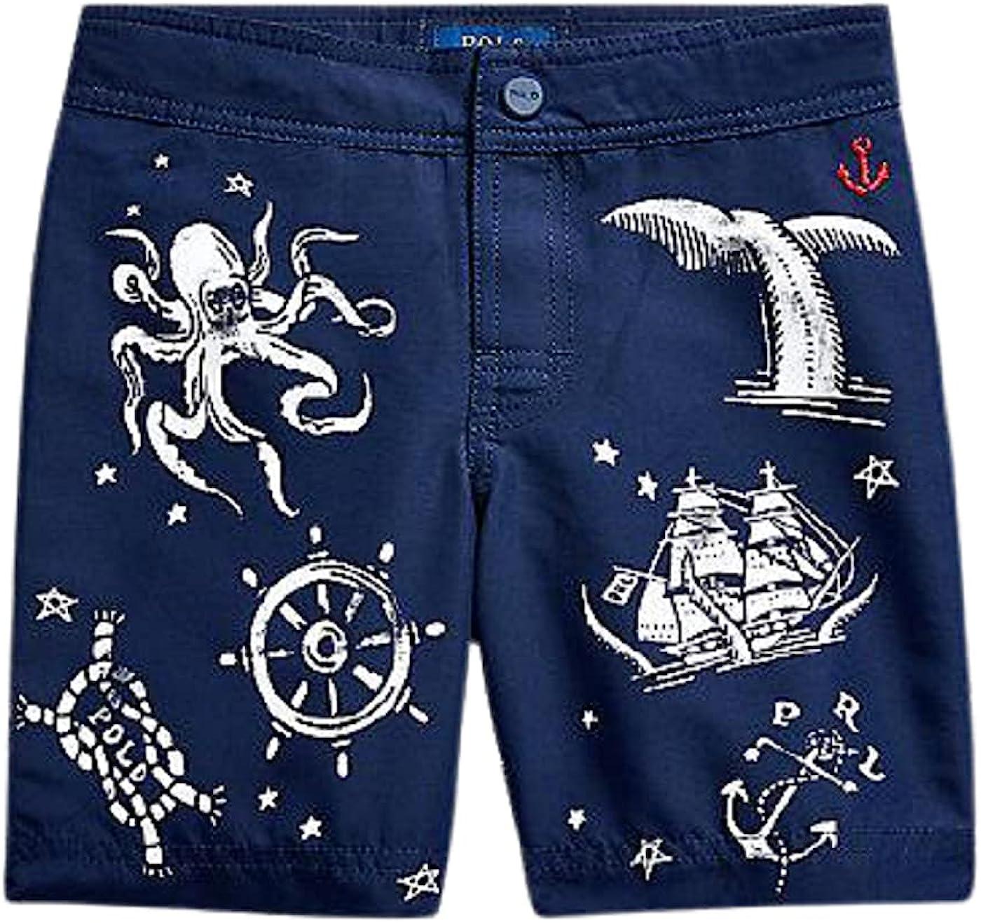 Polo Ralph Lauren French Navy Big Boys Nautical-Print Swim Trunks, US Small