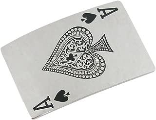 VIGOROSO Men Elegant Funny Casino Cards Poker Lucky A Ace of Spade Metal Belt Buckle