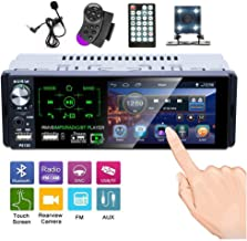 Hikity Car Stereo Audio 1 Din 4.1 Inch HD Touch Screen Radio Bluetooth FM AM Radio Support USB/SD/AUX Input+ Backup Camera/Steering Wheel Control/Microphone