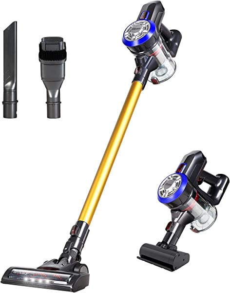 Dibea D18 Lightweight Cordless Stick Vacuum Cleaner 2 In 1 Bagless Rechargeable Handheld Car Vacuum With Mini Motorized Brush For Floor Carpet Pet Hair Gold