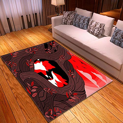 HJKGSX Alfombra De Salón Zorro Sol Rojo Alfombra Pelo Corto Antideslizante Dormitorio Cuarto de los niños Fácil de Manejar 80 x 160 cm