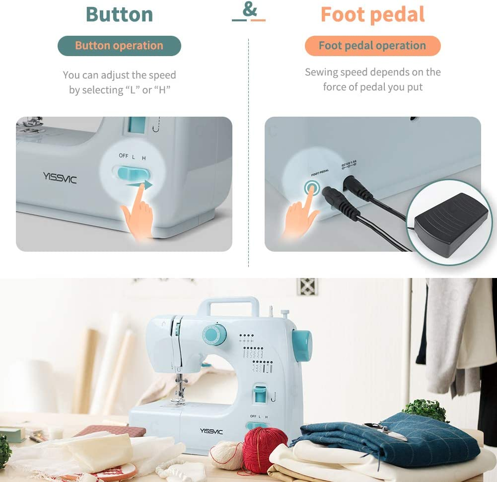 YISSVIC Sewing Machine 16 Stitches Electric Sewing Machine Mending Machine with Adjustable Speed LED Light Foot Pedal for DIY Crafting Clothes Curtains
