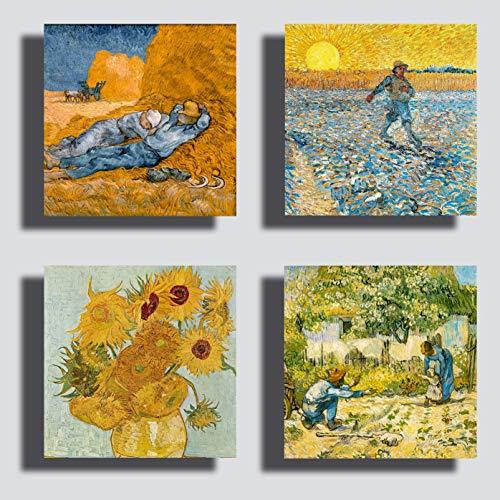 Cuadros modernos estilo Van Gogh 4 piezas 30x30cm girasoles noche estrellada impresion lienzo lienzo lienzo decoracion arte abstracto XXL decoracion de salon dormitorio cocina oficina bar restaurante