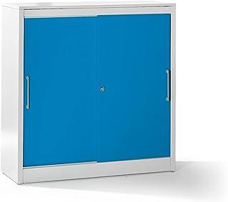 Mauser Armoire à portes coulissantes - armoire basse, 2 tablettes - h x l x p 1225 x 1200 x 420 mm, gris clair / bleu clai...