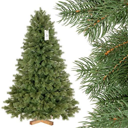 FairyTrees Artificial Árbol de Navidad Picea Real Premium, Material Mix PU y PVC, el Soporte de Madera, 150cm