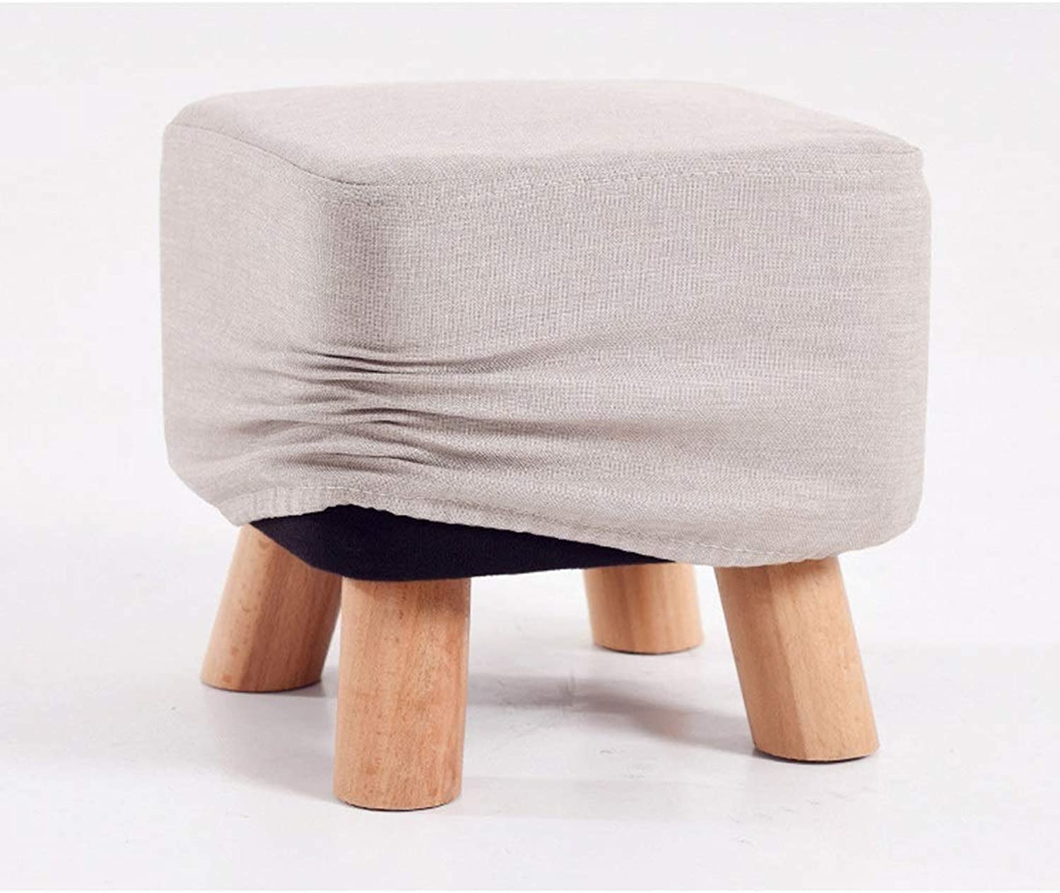 LLSDLS Solid Wood Fabric Stool Adults and Kids Small Bench Solid Wood Change shoes Bench Creative Sofa Stool.