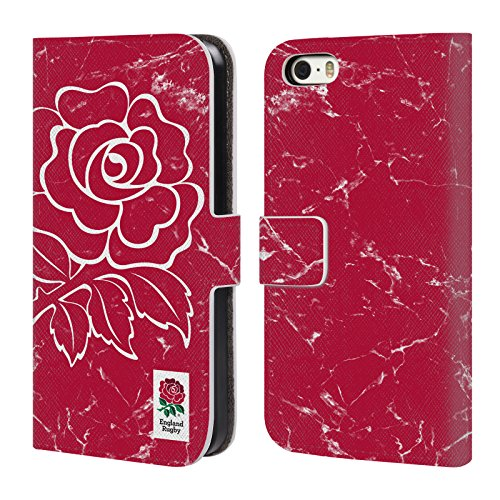 Head Case Designs Official England Rugby Union Rojo Mármol Carcasa de Cuero Tipo Libro Compatible con Apple iPhone 5 / iPhone 5s / iPhone SE 2016