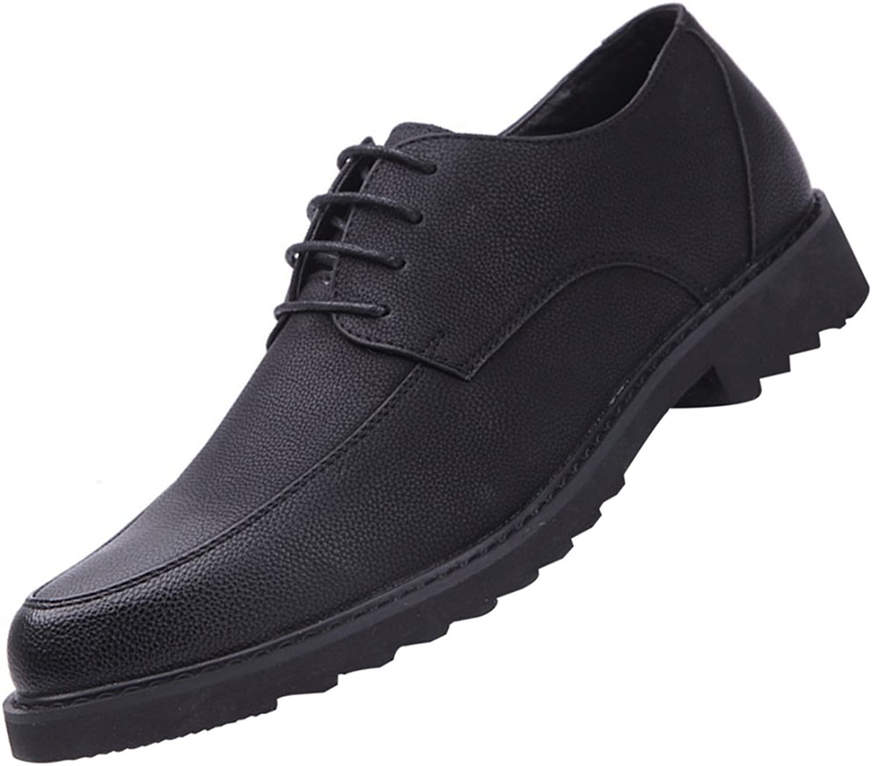 LEDLFIE Men's Leather shoes Fashion Casual Non-Slip Wear-Resistant Lace-up Business Dress shoes