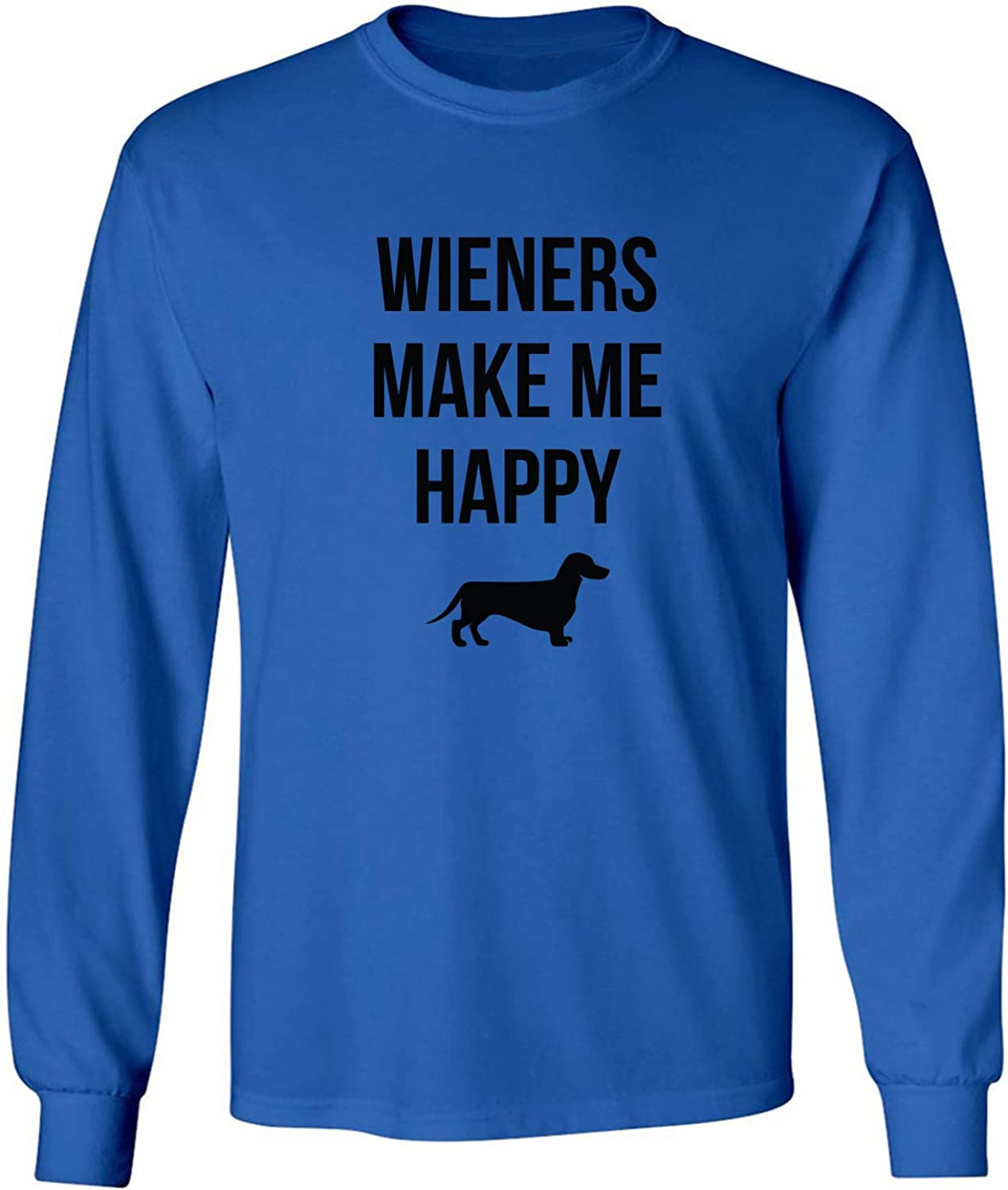 Wieners Make Me Happy Adult Long Sleeve T-Shirt in Royal - XXXXX-Large