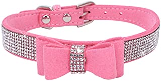BONAWEN Crystal Dog Collar with Bow Tie Rhinestone Puppy Collars Bling for Small Dogs
