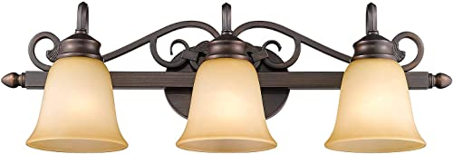 lowest Golden 2021 Lighting 4074-3 discount RBZ Belle Meade Bath Fixture, Size: 28-Inch W by 9-Inch H by 8-Inch E, Rubbed Bronze sale