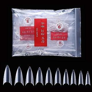 AORAEM 500 Pcs Stiletto Nail Tips Clear Sharp Ending False Acrylic Nail Art Tips 10 Sizes for Nail Salons and DIY Nail Art (Clear Short Nail)