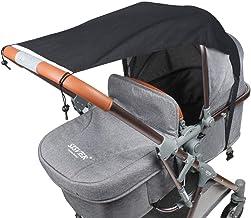 Fengzio Universal Sonnensegel für Kinderwagen/Babywanne UV Schutz Beschichtung 50 Sonnenschutz für Babys Sonnensegel mit Tasche - Schwarz