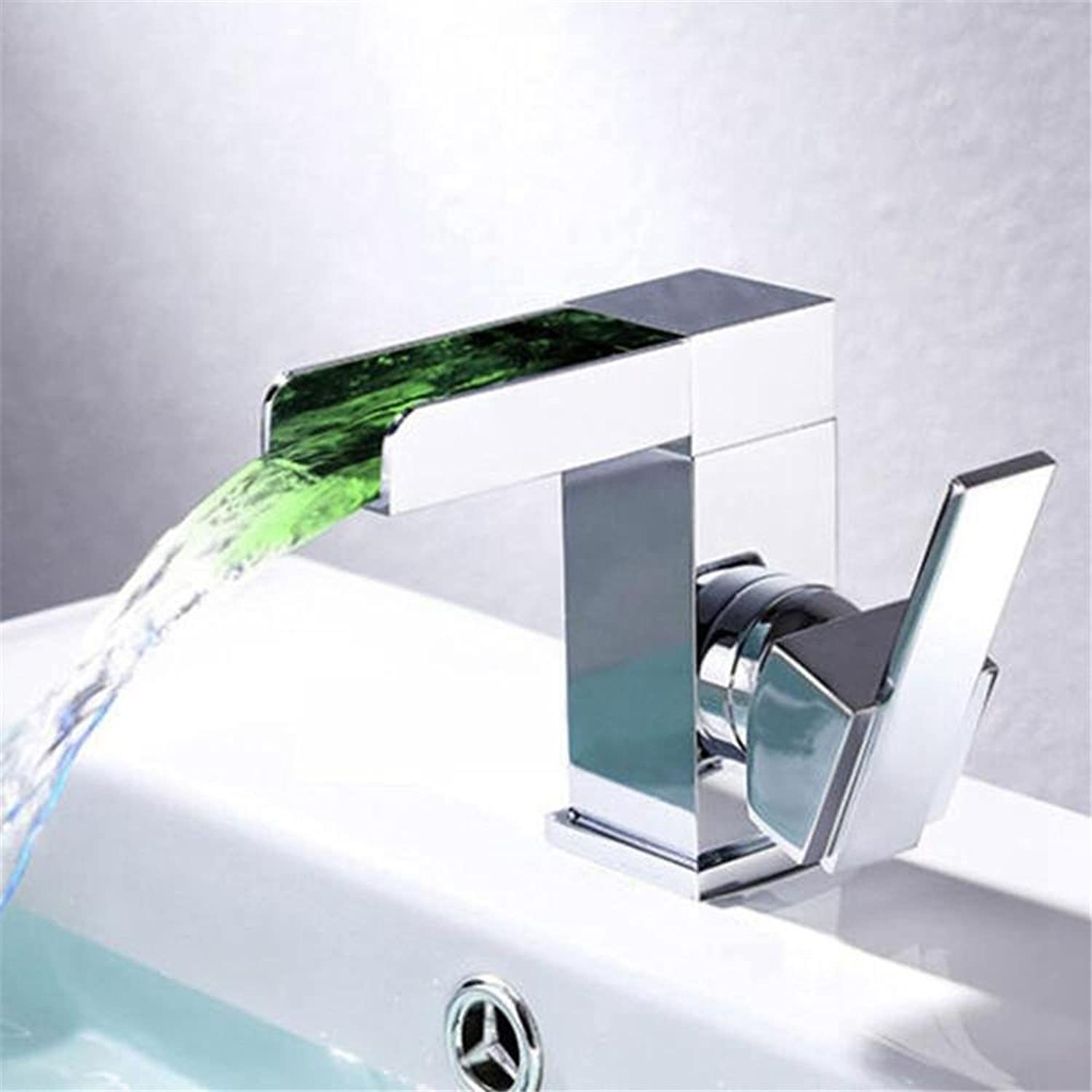 LED Square Waterfall Single Handle Basin taps high Grade Chrome Bathroom taps