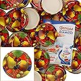 MamboCat Lot de 50 couvercles TO82 - Motif fruits - Jaune - Avec couvercle Twist-Off - Bord rond - Pour conservation et conservation - Convient pour 230 ml/350 ml/435 ml