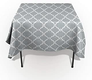 wanxinfu Rectangular Cotton Linen Fabric Tableclothes, Grey White Geometric Rhombus Dust-Proof Table Cover for Kitchen Dinning Tabletop Decoration 60x90in=153x229cm