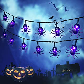 Qunlight Halloween Solar String Lights, 2Pack 30 LED 20ft Purple Spider String Lights with 8 MODES Waterproof Fairy Lights...