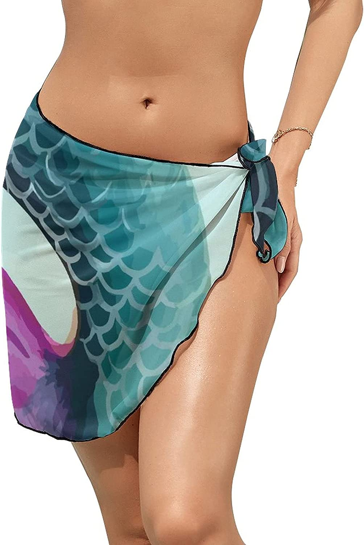 Women Beach Wrap Skirt Chiffon Sarong Pareo Swimsuit Bikini Cover Ups Mermaid Tail Purple