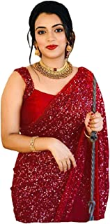 Rosebud Fancy Sequence Work Bollywood Styel Women Georgatte Sarees With Blouse Pice Red