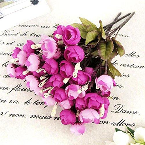 ZHOUBAA Künstliche Blumen Multicolor Künstliche Blumen Multilayer, Home Künstliche Rose Seidenblumen 18 Blütenköpfe Kamelie Pfingstrose Blumenstrauß Dekor Rosenrot