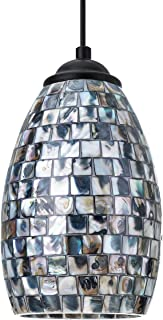 KingSo Contemporary Pendant Light + Hand-Crafted Mosaic Shell Glass, Satin Nickel Finish for Kitchen Island Dining Room Bar Cafe Shop(Black White)