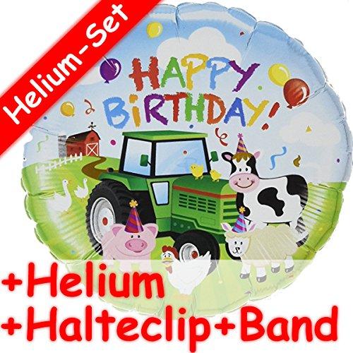 Folienballon * HAPPY BIRTHDAY * Tiere Bauernhof + HELIUM FÜLLUNG + HALTE CLIP + BAND * zum Geburtstag // Trecker Farm Folien Ballon Deko Ballongas Mädchen Jungen Geschenk Kuh Schwein Schaf Huhn