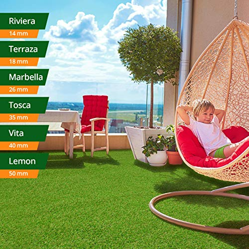 casa pura Kunst-Rasen in 6 Höhen • Natürlich weich in Echtrasen-Optik • Rasen-Teppich Tosca, 35 mm • Kunstrasenteppich wasserdurchlässig & UV-beständig • Garten, Terrasse, Deko • 100x100 cm