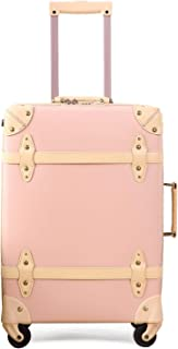 Vintage Luggage Carryon Suitcase Travel - HoJax Classic Trolley Luggage with Spinner Wheels, TSA Lock, Lightweight, 20 inch, Pink
