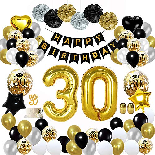 MMTX 30 Décorations de fête en Noir Or, Bannières de Joyeux Anniversaire Ballons Ballons du 30ème Anniversaire, Pom Poms en Papier, Ballons en Feuille d'or pour Hommes et Femmes Adult Decor