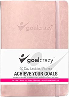Goal Crazy Undated Planner - 90 Day Guided Journal, 2019 2020 Weekly Organization, Productivity Habit Tracker, Inspirational, Life Setting, Rose Gold, Pink Leather, Almond Pages