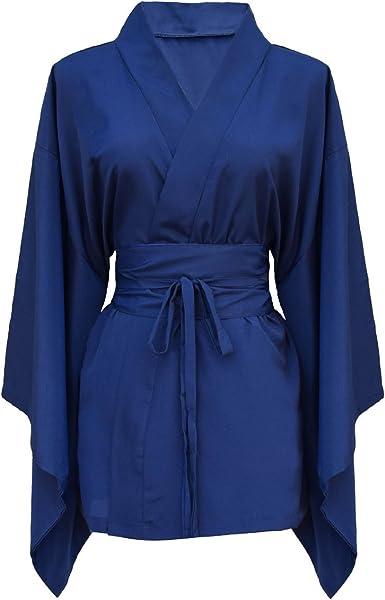 Camisa para mujer japonesa kimono 100% seda natural azul ...