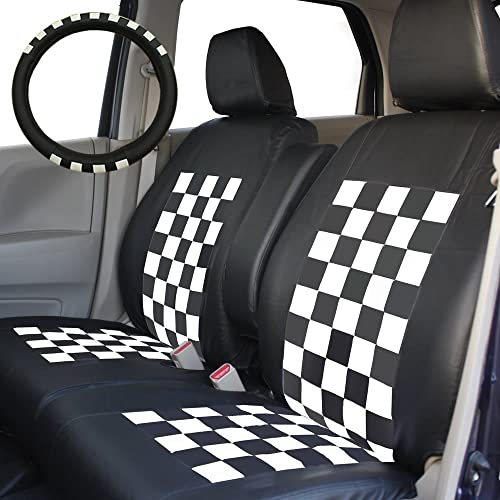 錦産業 ハスラー専用シートカバー ブラック×ホワイト 専用タイプ ハンドルカバー付きSP-3801