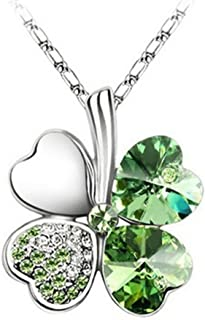 Jackie Fashion White Gold Plated Austrian Crystal Lucky Four Leaf Clover Pendant Necklace Green