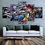 5 Paneles Anime Manga Figura Modular HD Lienzo Carteles Arte de la pared Imágenes Pinturas Accesorios Decoración para el hogar Sala de estar 150x80cm con marco