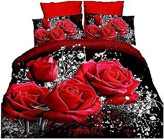 4Piece caliente rosa roja juego de funda nórdica Comforter Set 3d romántico flores funda de edredón para doble tamaño