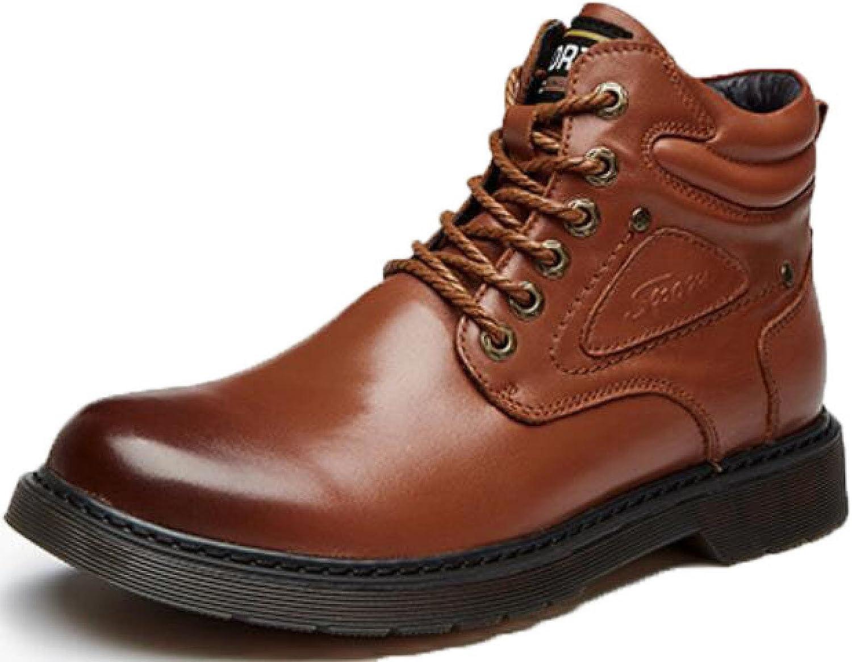 Manlig skor läder läder läder Martin stövlar Plus sammet Casual Single skor Ökade personliga skor, gul -bspringaaa -38  lyx-märke