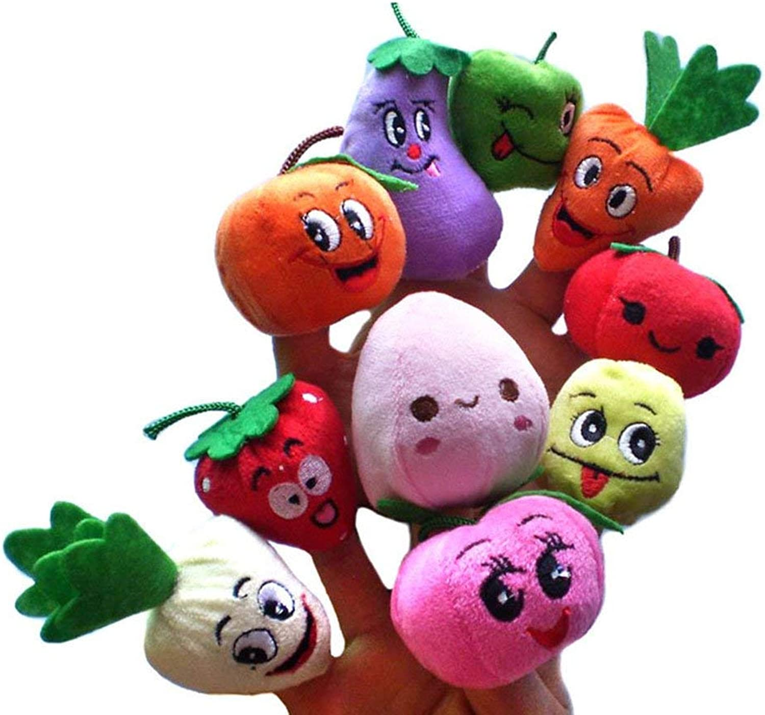 Finger Puppets, TOYMYTOY Fruits and Vegetables Story Puppets Preschool Education Toys 10pcs