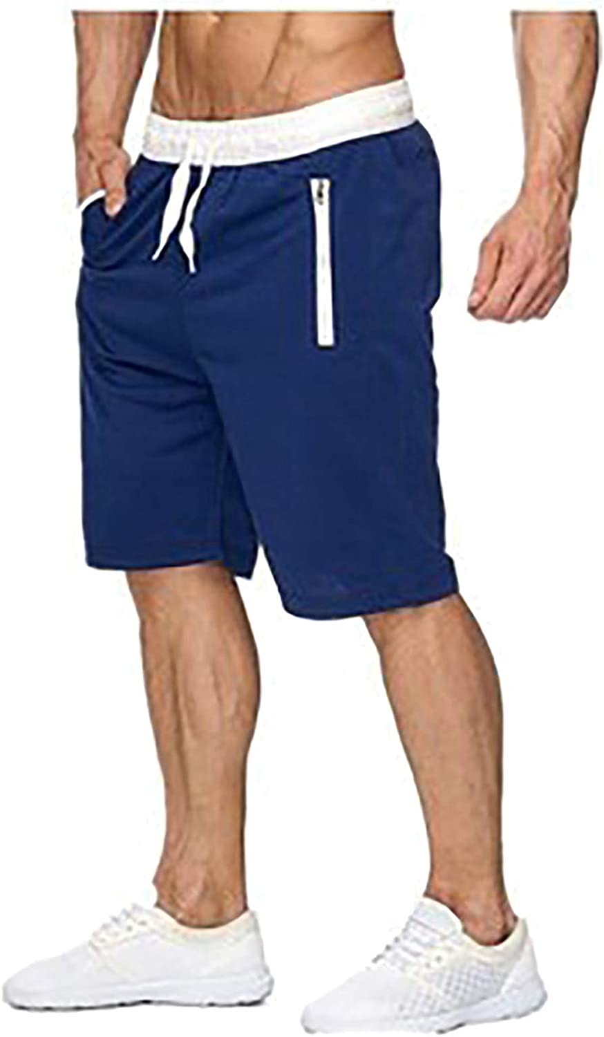 2021 Men's Summer Sports Casual Zippered Drawstring Shorts in Solid Color