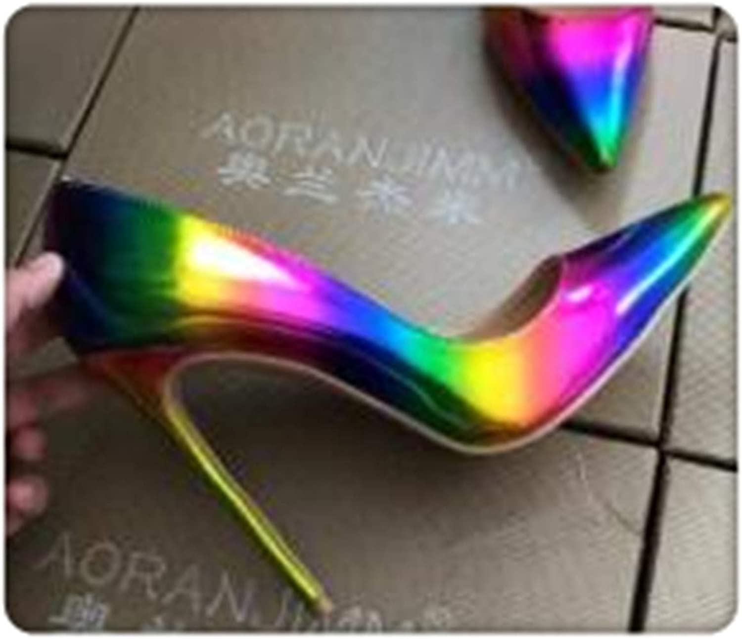 HANGGE& Real pic colorful Rainbow Printed Pointed Toe Woman Lady Female 12cm 10.5cm 8cm high Heel shoes Pump 12cm Heel 10