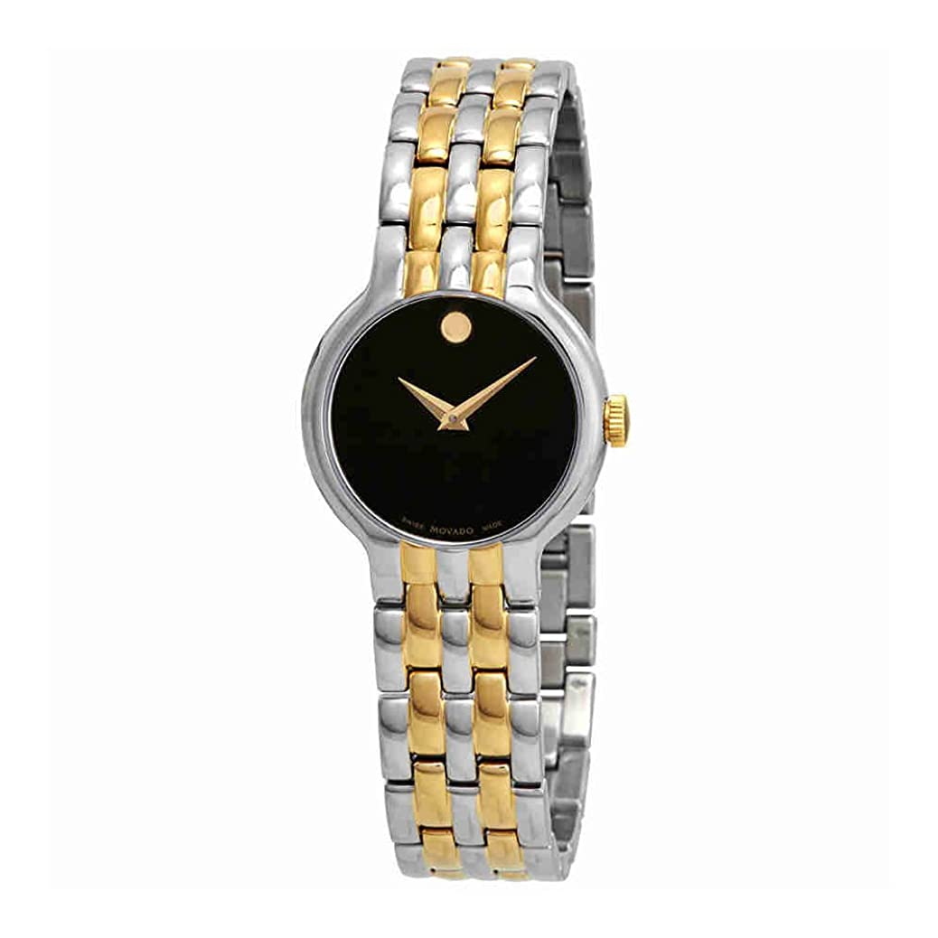 Movado Veturi Black Dial Two-Tone Ladies Watch 0606933 jyiy2593750342