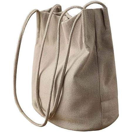 Ulisty Damen Baumwolle und Leinen Schultertasche Sommer-Strandtasche Beiläufig Eimer-Tasche Handtasche Beige