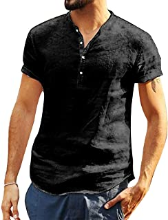 Mens V Neck Cotton Linen Henley Shirts 3/4 Sleeve Banded Collar T-Shirt Loose Fit Summer Beach Tops