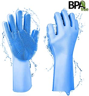 Magic Silicone Dishwashing Gloves, Cleaning Gloves with wash Scrubber Reusable Scrub Silicone Gloves for Washing Kitchen,Dishwashing, Bathroom, Car, Pet and More (Blue 1 Pair)