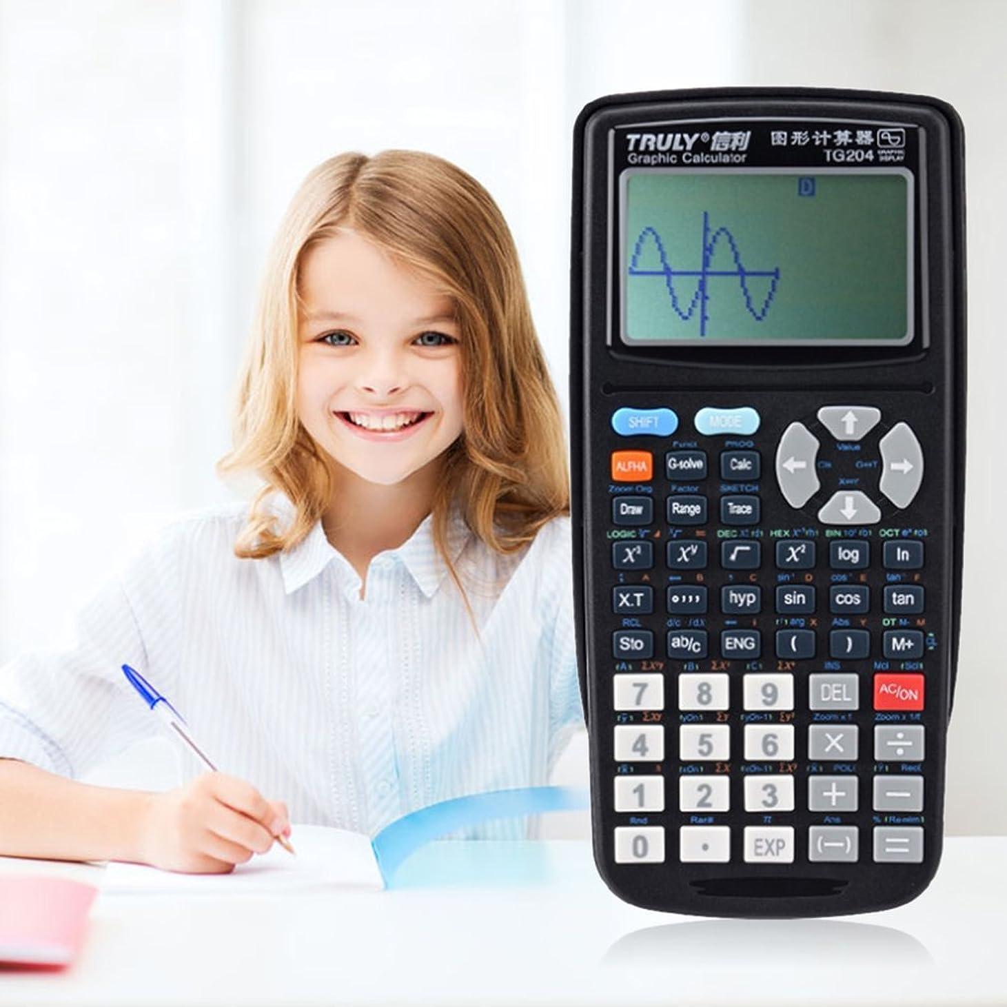 失望返還お茶Lamijua TG204 ポータブルサイズ 学生 グラフィック 電卓 科学的グラフ計算機 グラフィック教育用 ブラック