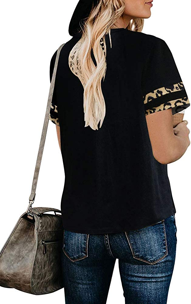 ETCYY Women V Neck T Shirts Short Sleeve Loose Casual Cute Printed Tie Dye Tee Shirt Tops