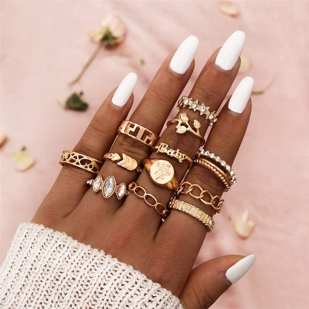 VESOCO 12 Pcs Bohemian Gold Stackable Joint Knuckle Ring Set Rhinestone Crystal Carved Midi Ring Punk Finger Rings for Women and Girls