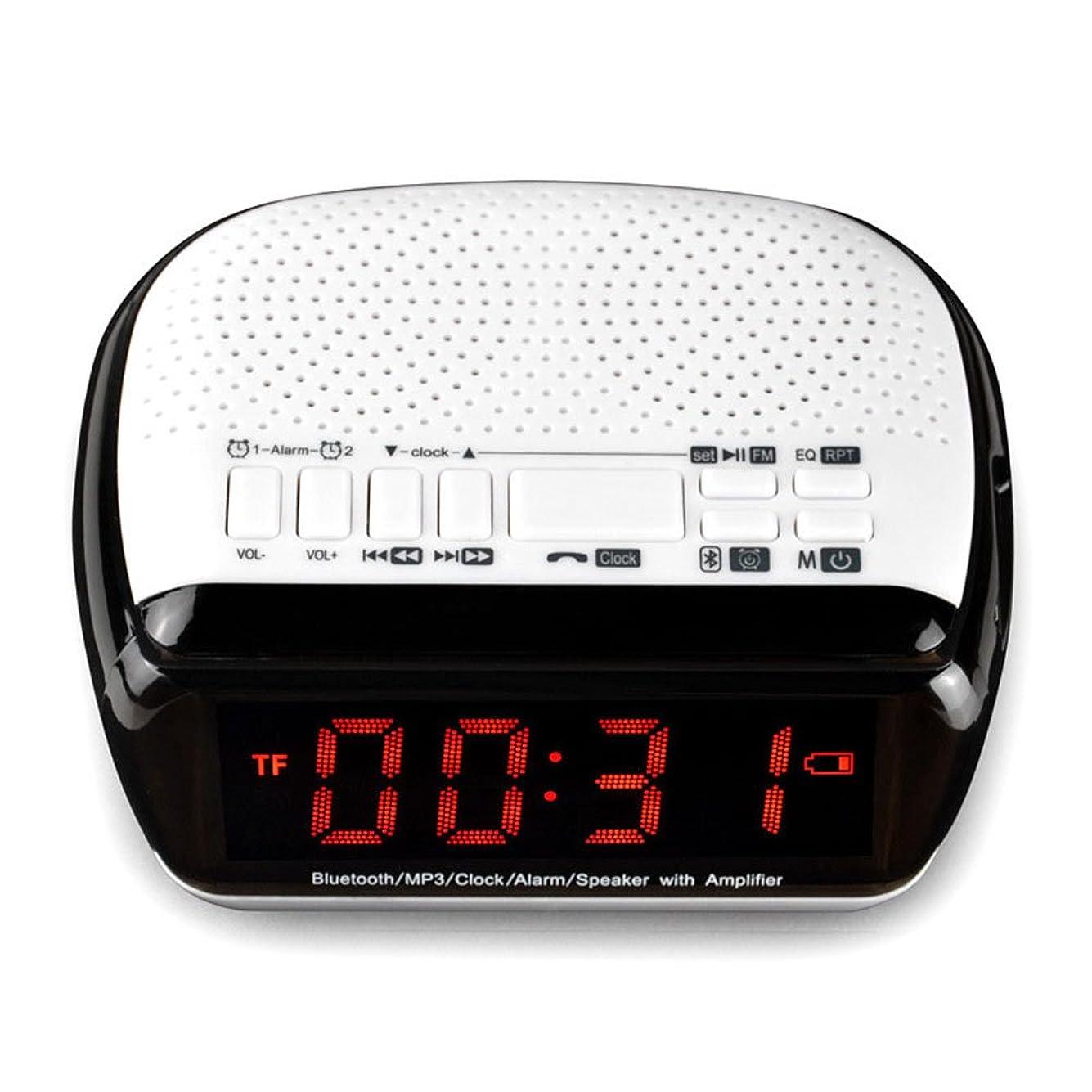 スライスベーコン貨物Yimoer ポータブル スピーカー ラウドスピーカー 高音質 割に合う製品でござる スマートワイヤレスブルートゥースデジタルディスプレイFMラジオ付きBluetoothのステレオスピーカー音楽プレーヤーLEDデュアル目覚まし時計