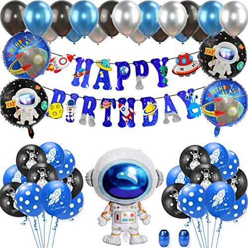 Globos de Cohetes Globos del Espacio Exterior,Astronaut Foil Balloon Espacial Cohete Globo, Dibujos Animados Globos Decoraciones Globos de Aluminio Luna y Estrella para Fiesta de Cumpleaños