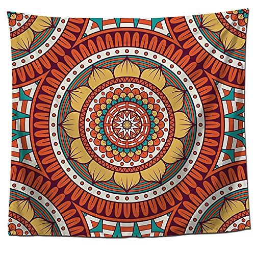 Mandala Flor Tapiz Hippie Brujería Tapiz para Colgar en la Pared Estilo Bohemio Fondo Paño Manta Paño Colgante A12 180x200cm