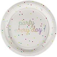 60 Count Ottin 7'' White and Silver Colored Foil Dessert Paper Plates